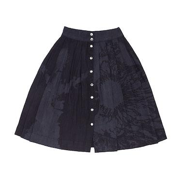 "Laser Print ""CHAOS"" Knife Pleated Skirt"