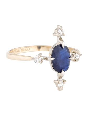 14K Sapphire & Diamond Moon Flower Ring