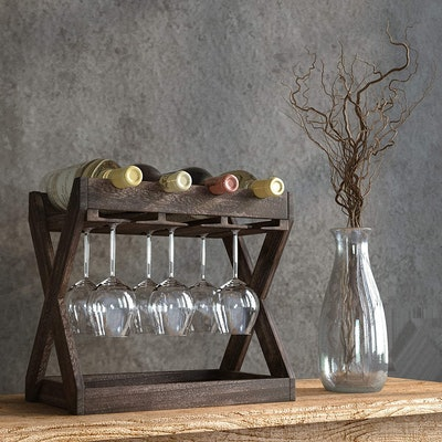 Rustic State Wood Wine and Glass Rack