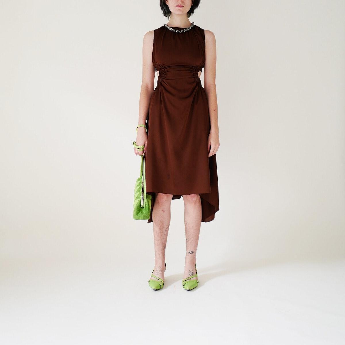 Brown Silk Openback Dress