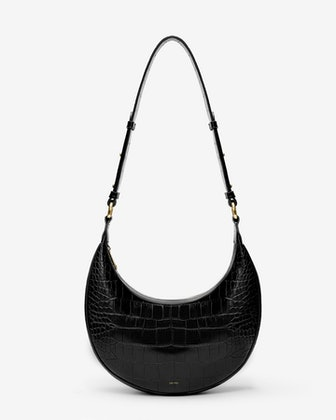 Carly Saddle Bag in Black Croc