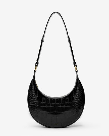 JW Pei Carly Saddle Bag in Black Croc