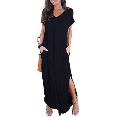 GRECERELLE Short Sleeve Split Maxi Dress