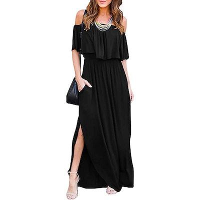 THANTH Off-The-Shoulder Side Split Maxi Dress