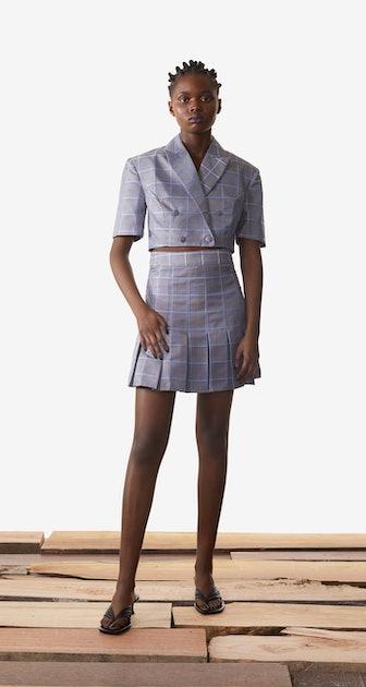 Grey Blue Check Kalena Blazer