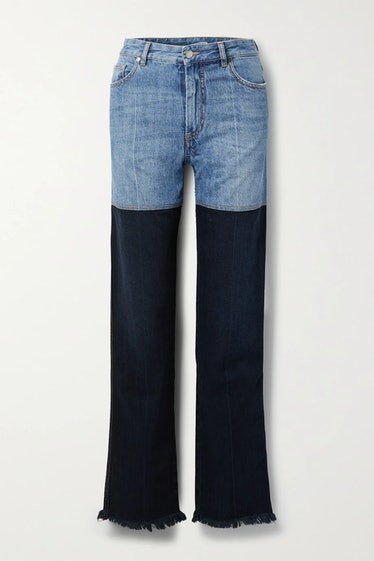 Frayed Two-Tone High-Rise Straight-Leg Jeans