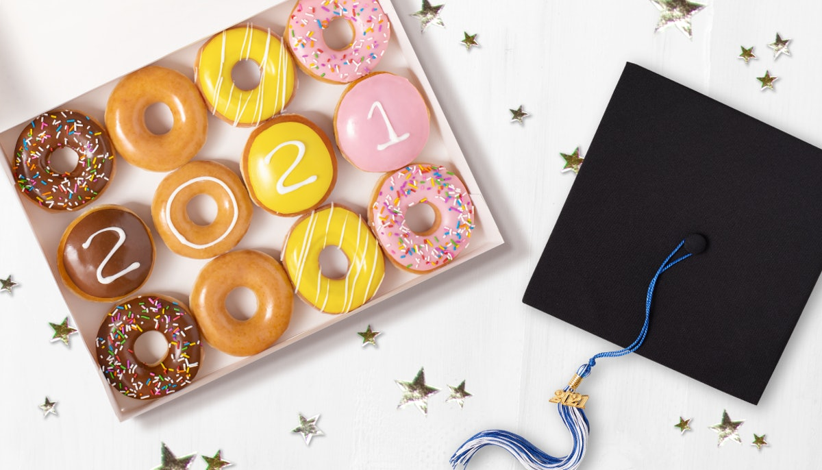 Here's how 2021 graduates can get free Krispy Kreme doughnuts.
