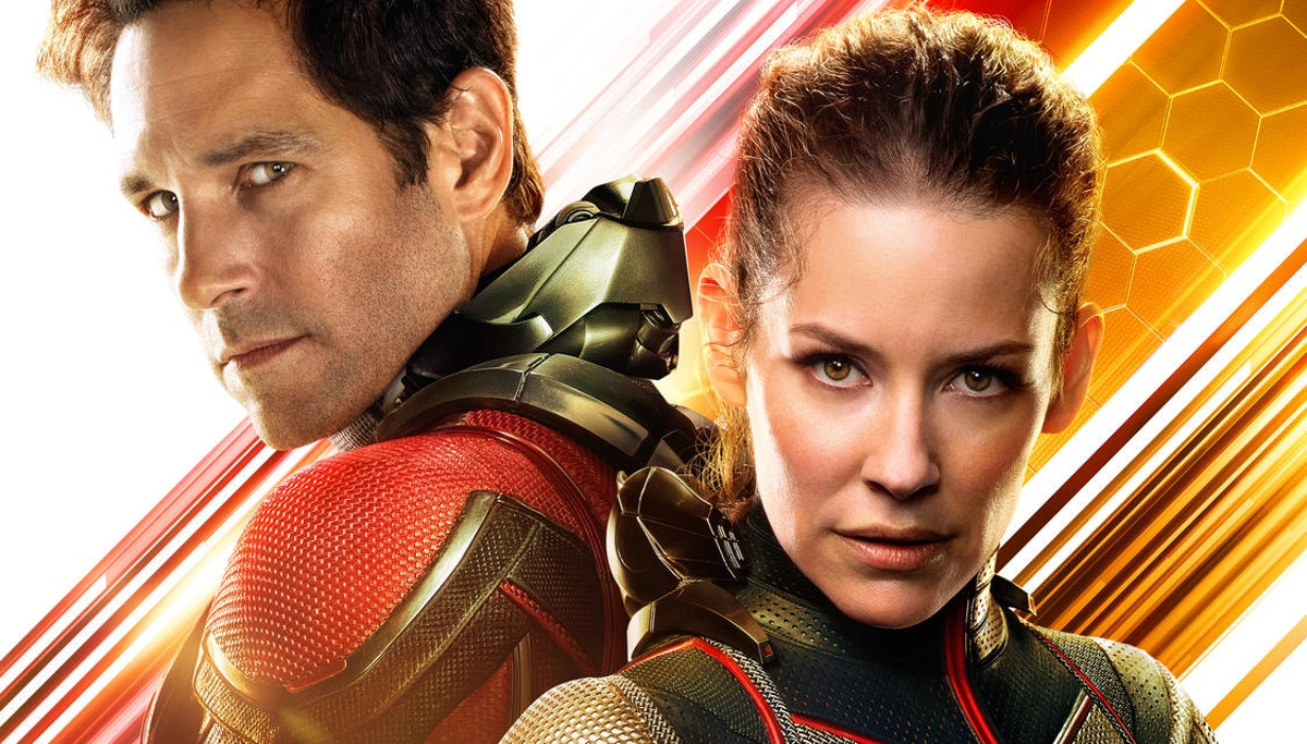Paul Rudd as Scott Lang / Ant-Man and Evangeline Lilly as Hope van Dyne / Wasp in Ant--Man and the W...
