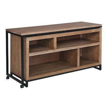 Metal And Wood Weldon Swivel Desk With Storage
