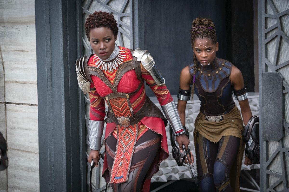Letitia Wright as Shuri, Lupita Nyong'o as Nakia in 'Black Panther'