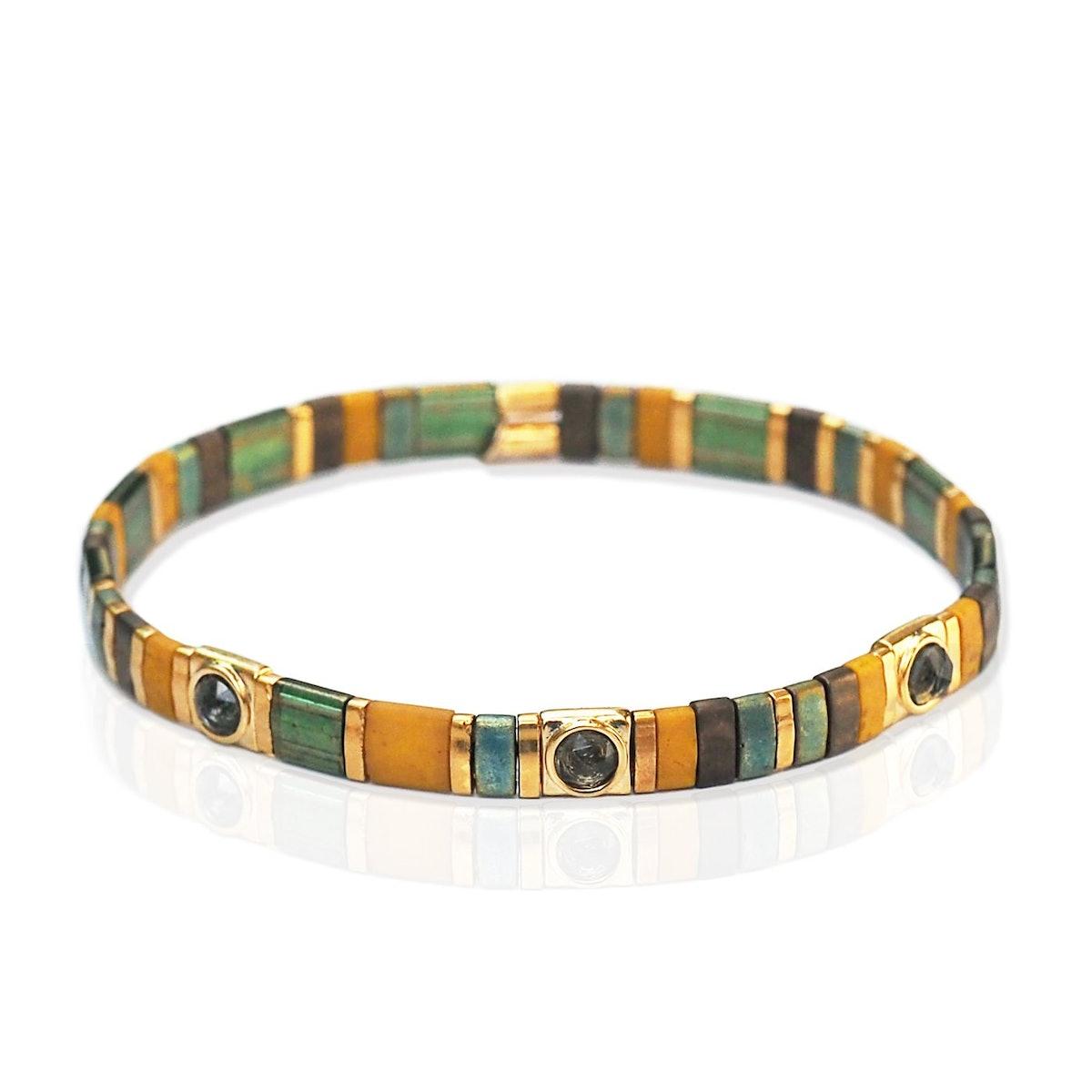 Handmade Gold Tila Bead Bracelet with Scattered Stone
