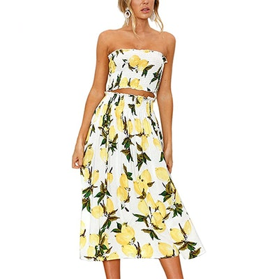 Angashion Floral Crop Top And Maxi Skirt (2-Piece Set)