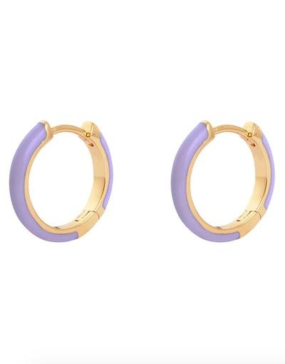 Classic Enamel Lilac Gold 10mm Huggie Earrings