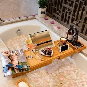 Bamfan Bamboo Bath Caddy Tray