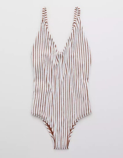 Terry Striped Scoop One Piece Swimsuit