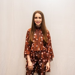 Lily Collins at the 'Tolkien' Press Conference at the Four Seasons Hotel on April 22, 2019.