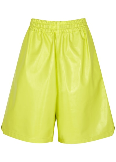For Summer 2021, swap your go-to sweatpants for these comfortable lime leather lounge shorts by Bott...