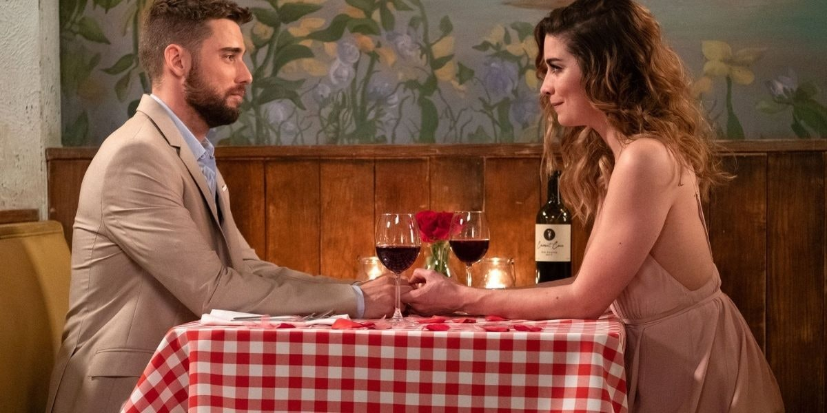 Ted and Alexis in Schitt's Creek.