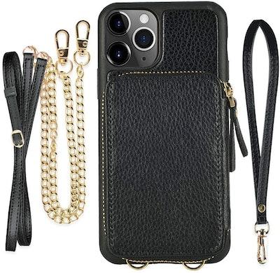 ZVE Leather iPhone Crossbody Chain Purse