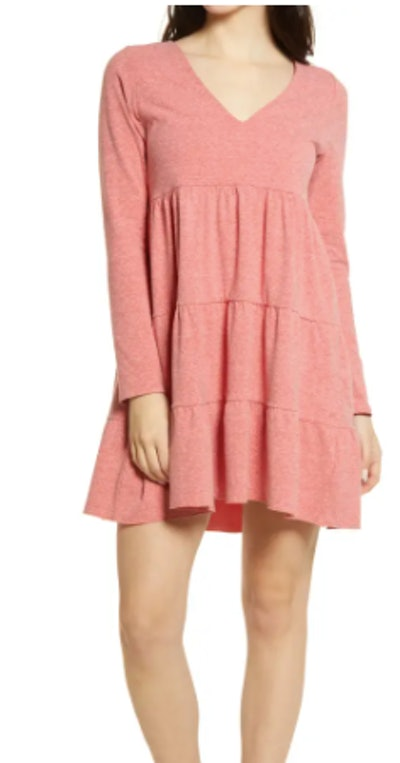Tiered Long Sleeve Knit Dress
