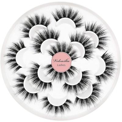 Veleasha 5D Faux Mink Lashes Handmade Luxurious Volume Fluffy Natural False Eyelashes (7 Pairs)