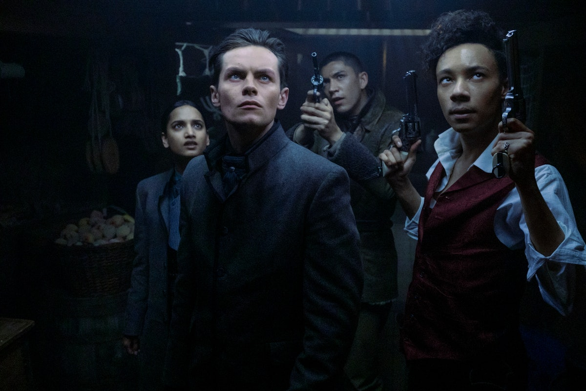 Amita Suman as Inej, Freddy Carter as Kaz, Archie Renaux as Mal, and Kit Young as Jesper in Shadow a...