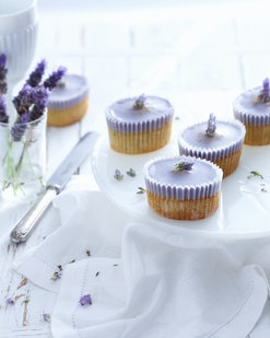 Tray of lavender cupcakes
