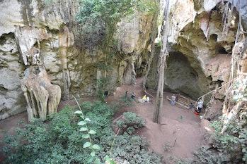 Aerial view of cave burial site Panga ya Saidi