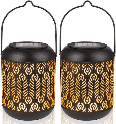 LeiDrail Solar Lantern Outdoor Garden Hanging Lanterns (2-Pack)