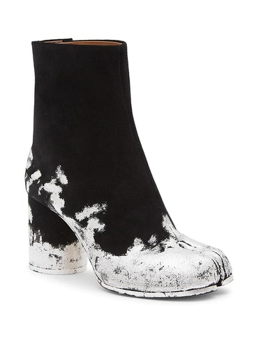 Tabi Silver Foil Suede Ankle Boots