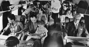 circa 1960: Interior of a BEA Vickers showing the passenger section