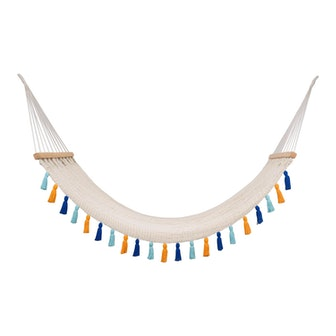 Handmade Handmade Deluxe Natural Cotton Hammock with Hue Inspired Tassels with Wooden Bar