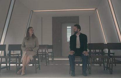 Joseph Fiennes as Fred and Yvonne Strahovski as Serena in The Handmaid's Tale via Hulu Press Site