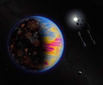 Artist's illustration of a technologically advanced exoplanet.