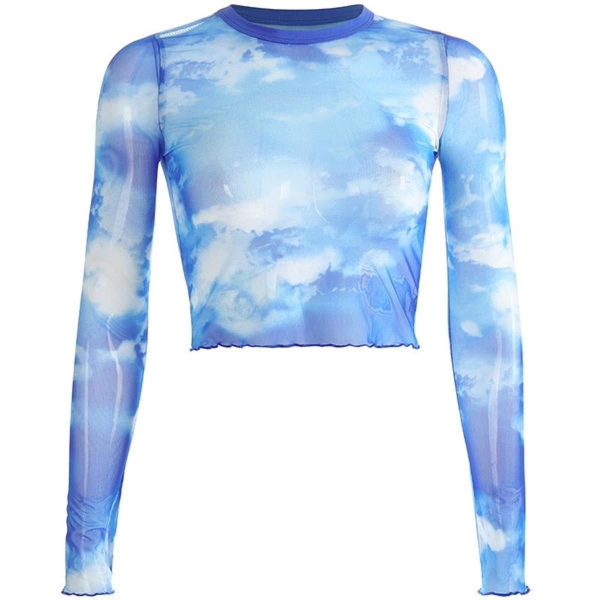 Wish Vintage Ins Hot Blue Sky White Clouds Pattern Printing Slim Long Sleeve Mesh Women Crop Top Short T Shirts