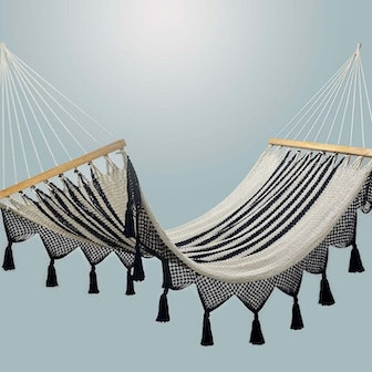 Double Weave Fringed Hammock - Colonial Navy Blue