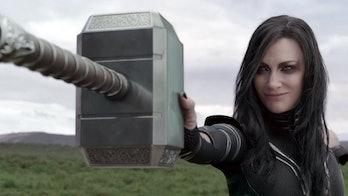Hela destroying the hammer in Thor: Ragnarok.