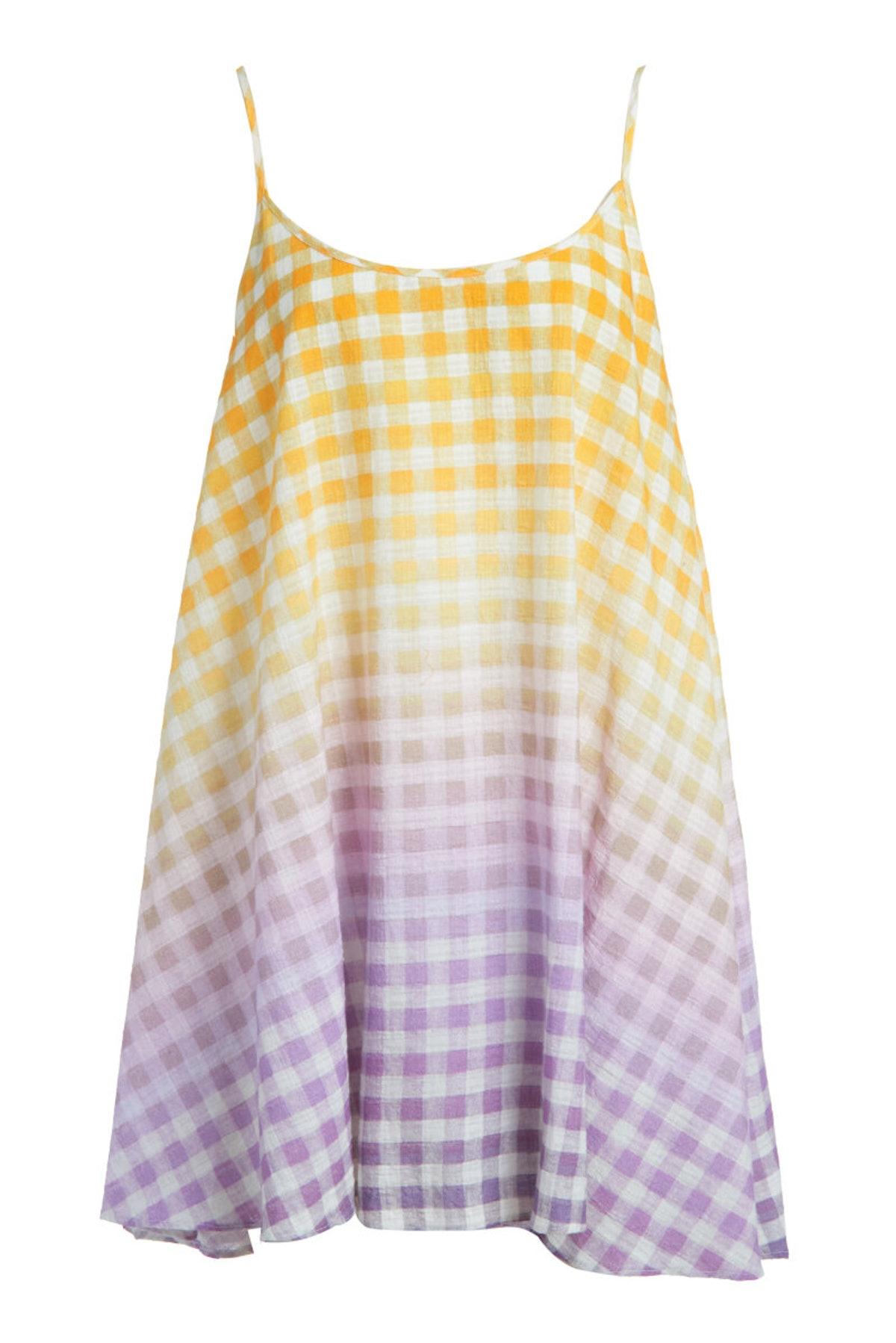 Flared Slip Dress in Cosmic Gingham