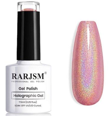 RARJSM Holographic Gel Nail Polish, Rose Gold