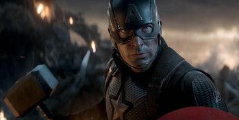 Captain America holding Thor's hammer in Avengers: Endgame