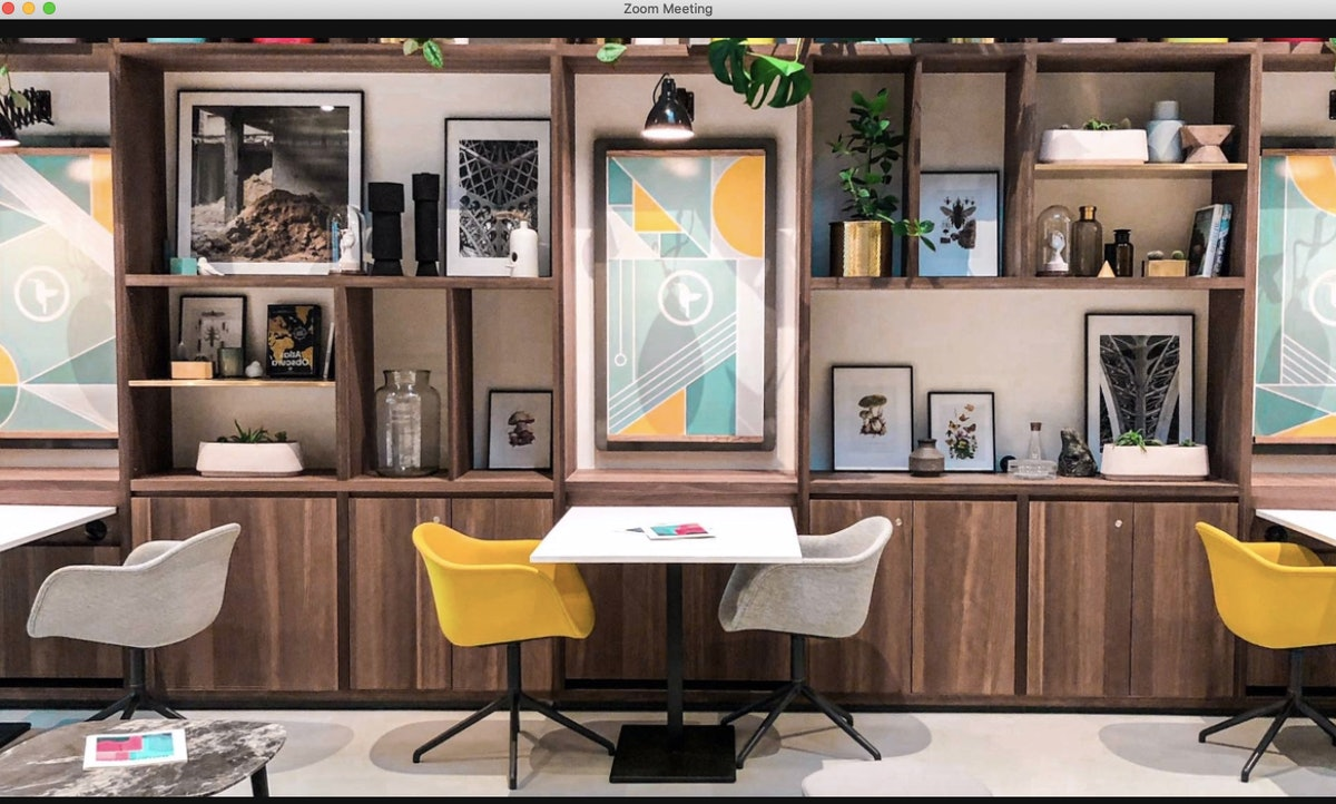 This Zoom office background will make it feel like you're working in a cafe or restaurant.