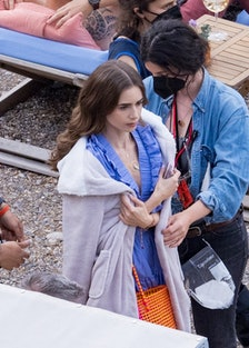 Lily Collins on set