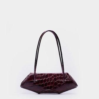 Elizabeth Baguette Mini Glossy Croc Bag in Betroot