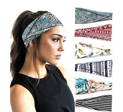 PLOVZ 6 Pack Yoga Running Headbands