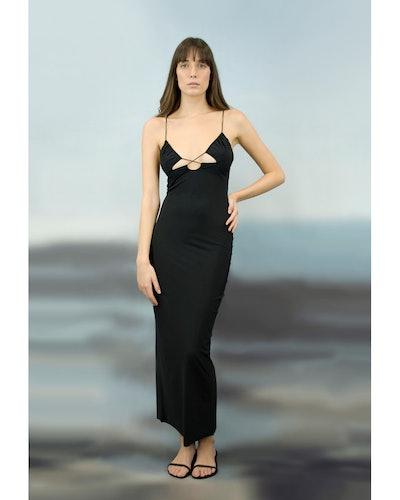 Issad Deep Black Slip Dress