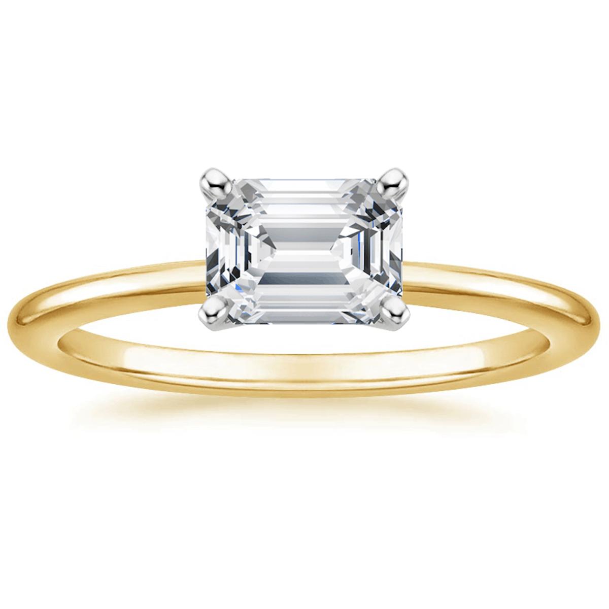 18K Yellow Gold Horizontal Petite Comfort Fit Engagement Ring