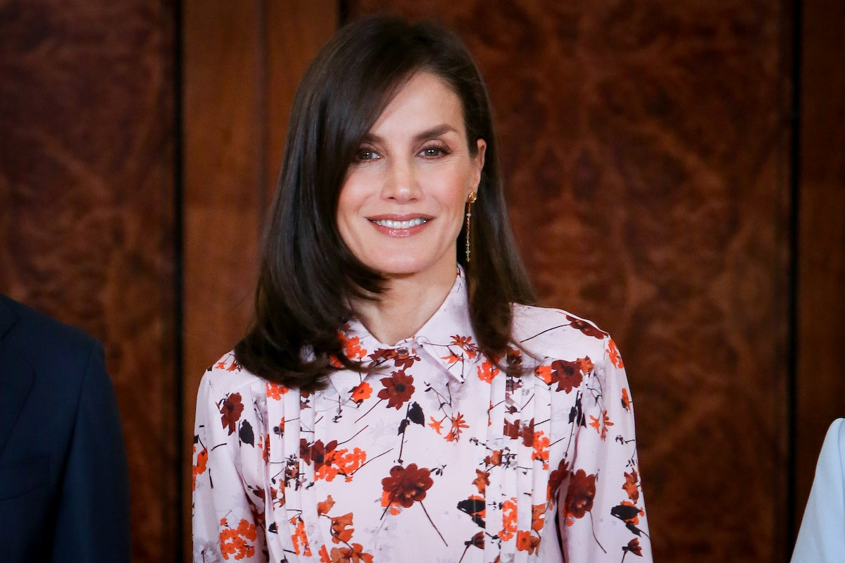 Queen Letizia of Spain attends several audiences at Zarzuela Palace on February 21, 2020 in Madrid,...