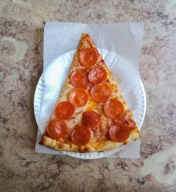 slice of pizza on paper plate sodium salt