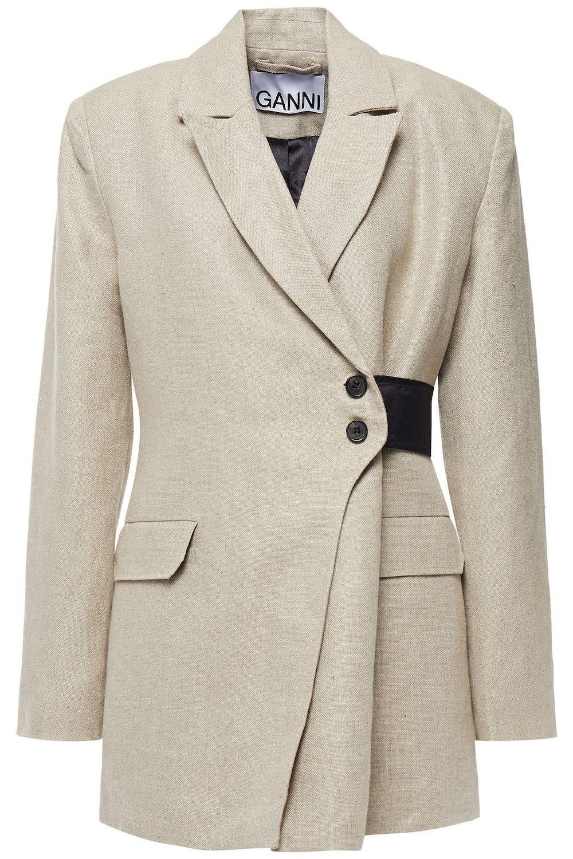 Shell-trimmed linen-canvas wrap blazer