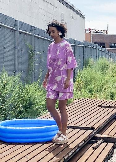 Pink Sparkler Oversized Tee And Shorts Set